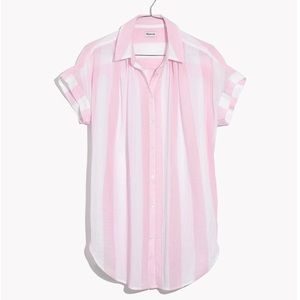 Madewell cara pink striped central shirt
